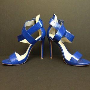 ALDO blue strappy heels criss cross shiny sandals